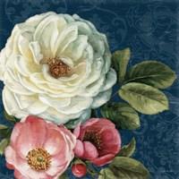 Floral Damask II on Indigo Fine-Art Print