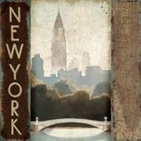 City Skyline New York Vintage Square Fine-Art Print