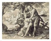 Young Woman Assisted by a Gentleman Fine-Art Print