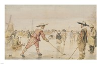 A Winter Scene with Two Gentlemen Playing Colf Fine-Art Print