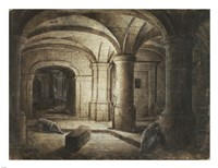 The Crypt of a Church with Two Men Sleeping Fine-Art Print