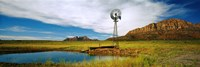 Solitary windmill near a pond, U.S. Route 89, Utah Fine-Art Print