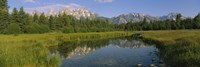 Reflection of a mountain in a lake, Grand Teton National Park, Wyoming, USA Fine-Art Print