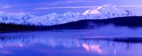 Reflection of snow covered mountains on water, Mt McKinley, Wonder Lake, Denali National Park, Alaska, USA Fine-Art Print