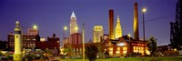 Buildings Lit Up At Night, Cleveland, Ohio Fine-Art Print