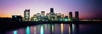 Buildings lit up at dusk, Boston, Suffolk County, Massachusetts, USA Fine-Art Print