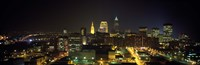 Aerial view of a city lit up at night, Cleveland, Ohio, USA Fine-Art Print