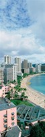 High angle view of a beach, Waikiki Beach, Honolulu, Oahu, Hawaii, USA Fine-Art Print