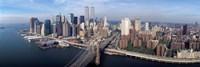 Aerial view of Brooklyn Bridge and Manhattan skyline, New York City, New York State, USA Fine-Art Print