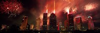 Fireworks over buildings in a city, Houston, Texas Fine-Art Print