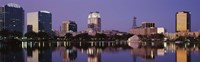 Office Buildings Along The Lake, Lake Eola, Orlando, Florida, USA Fine-Art Print
