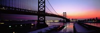 Suspension bridge across a river, Ben Franklin Bridge, Philadelphia, Pennsylvania, USA Fine-Art Print