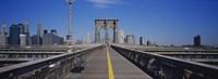 Bench on a bridge, Brooklyn Bridge, Manhattan, New York City, New York State, USA Fine-Art Print