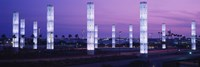 Light sculptures lit up at night, LAX Airport, Los Angeles, California, USA Fine-Art Print