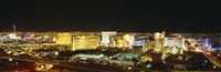 High Angle View Of Buildings Lit Up At Night, Las Vegas, Nevada Fine-Art Print