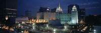 Temple lit up at night, Mormon Temple, Salt Lake City, Utah, USA Fine-Art Print