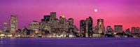 USA, Massachusetts, Boston, View of an urban skyline by the shore at night Fine-Art Print