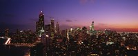 Buildings lit up at dusk, Chicago, Illinois, USA Fine-Art Print