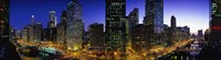 River and Buildings Lit Up At Dusk, Chicago, Illinois Fine-Art Print