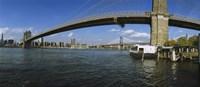 Suspension bridge across a river, Brooklyn Bridge, East River, Manhattan, New York City, New York State, USA Fine-Art Print
