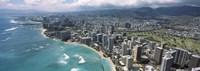 Aerial view of buildings at the waterfront, Waikiki Beach, Honolulu, Oahu, Hawaii, USA Fine-Art Print