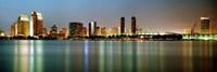City skyline at night, San Diego, California, USA Fine-Art Print
