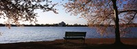 Park bench with a memorial in the background, Jefferson Memorial, Tidal Basin, Potomac River, Washington DC, USA Fine-Art Print