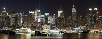 Buildings in a city lit up at night, Hudson River, Midtown Manhattan, Manhattan, New York City, New York State, USA Fine-Art Print
