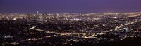 Night View of Los Angeles, California with Purple Sky Fine-Art Print