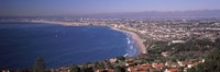 Aerial view of a city at coast, Santa Monica Beach, Beverly Hills, Los Angeles County, California, USA Fine-Art Print
