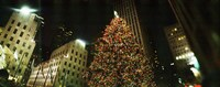 Christmas tree lit up at night, Rockefeller Center, Manhattan, New York State Fine-Art Print