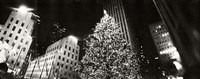 Christmas tree lit up at night, Rockefeller Center, Manhattan (black and white) Fine-Art Print