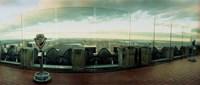 Coin-operated binoculars on the top of a building, Rockefeller Center, Manhattan, New York Fine-Art Print