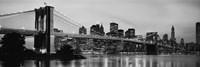 Brooklyn Bridge across the East River at dusk, Manhattan (black and white) Fine-Art Print