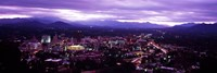 Aerial view of a city lit up at dusk, Asheville, Buncombe County, North Carolina, USA 2011 Fine-Art Print