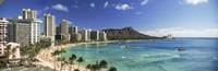 Buildings along the coastline, Diamond Head, Waikiki Beach, Oahu, Honolulu, Hawaii, USA Fine-Art Print