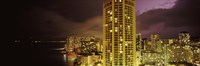 Buildings lit up at night, Honolulu, Oahu, Hawaii, USA Fine-Art Print
