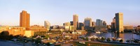 USA, Maryland, Baltimore, High angle view from Federal Hill Parkof Inner Harbor area and skyline Fine-Art Print