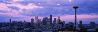 Seattle Skyline with Purple Sky and Clouds Fine-Art Print