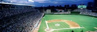 Cubs baseball game under flood lights, USA, Illinois, Chicago Fine-Art Print
