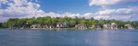 Boathouses near the river, Schuylkill River, Philadelphia, Pennsylvania, USA Fine-Art Print