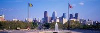 Fountain at art museum with city skyline, Philadelphia, Pennsylvania, USA Fine-Art Print