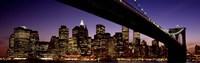 Night Brooklyn Bridge Skyline New York City NY USA Fine-Art Print