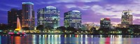 Panoramic View Of An Urban Skyline At Night, Orlando, Florida, USA Fine-Art Print