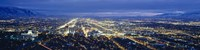Aerial view of a city lit up at dusk, Salt Lake City, Utah, USA Fine-Art Print