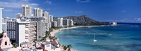 Buildings at the waterfront, Waikiki Beach, Honolulu, Oahu, Maui, Hawaii, USA Fine-Art Print