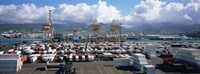 Containers And Cranes At A Harbor, Honolulu Harbor, Hawaii, USA Fine-Art Print