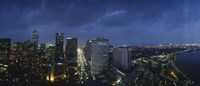 High angle view of buildings in a city lit up at night, New Orleans, Louisiana, USA Fine-Art Print