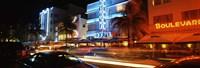 Buildings at the roadside, Ocean Drive, South Beach, Miami Beach, Florida Fine-Art Print