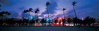 Buildings lit up at dusk, Miami, Florida, USA Fine-Art Print